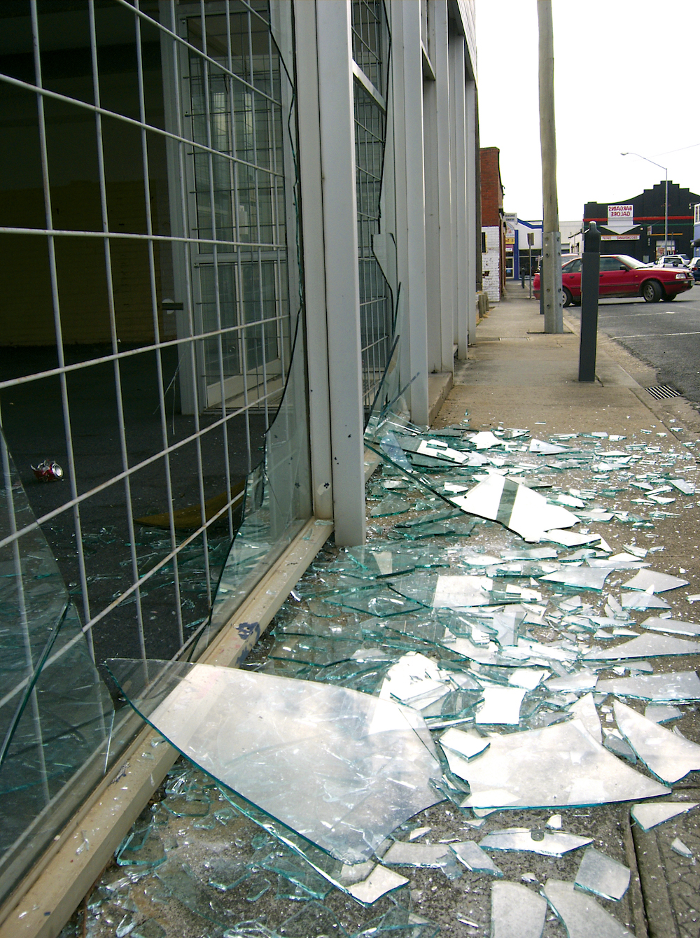 Broken shop window Film in San Jose